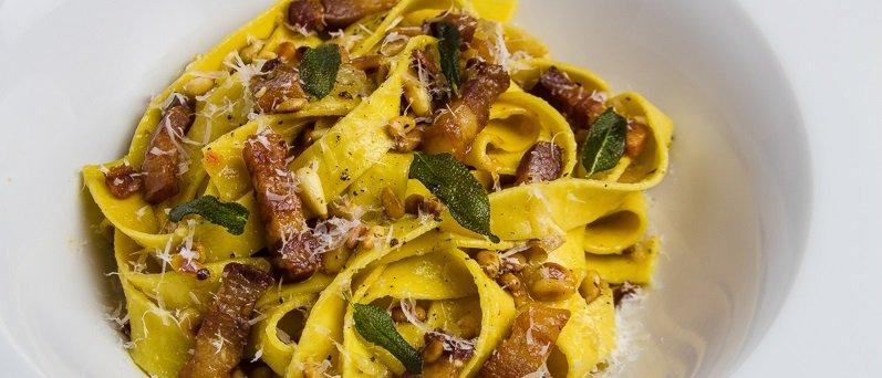 Pumpkin Pasta with Bacon, Pine Nuts and Sage